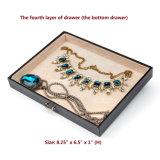 Черные кожаный случай и замок перемещения коробки ювелирных изделий