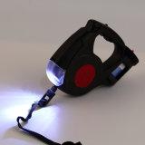 Luz de piscamento da ligação da trela do cão de animal de estimação do diodo emissor de luz retrátil com lanterna elétrica