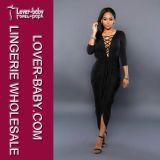Одежды вечера ультрамодной черной женщины платья сексуальные (L51260-2)