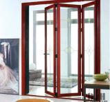 Portello di piegatura di alluminio della Bi di colore di legno con il doppio lustrato