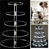 Stand acrylique clair de gâteau pour le mariage et l'anniversaire