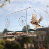 Casa acrílica do alimentador do pássaro do indicador da alta qualidade com bandeja & furos de dreno removíveis