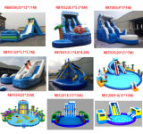 熱い販売青いカラー海洋の主題のボートの形膨脹可能な水スライド