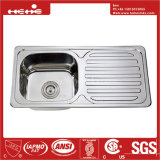 Bassin de cuisine simple de cuvette de support de dessus de l'acier inoxydable 31-1/2 x 15 avec le panneau de drain