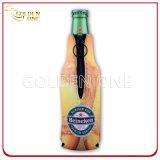 Sostenedor rechoncho impreso neopreno superior de la botella de cerveza con la cremallera