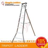 Tripode soldó con autógena los pasos de aluminio de la escala 8 2.40 M