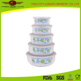 Arricchire Your Good Life 5PCS Enamel Bowl con Lid