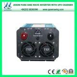 2000W 12V/24VDC ao inversor puro da potência de onda do seno 110V/220VAC com carregador do UPS (QW-PJ2000UPS)