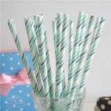 Quatre papier rayé Gradient couleur potable Straws flexible