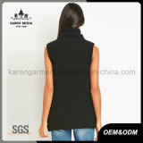 Chandail de laines tricoté par fermeture éclair sans manche de taille de col roulé de dames de Karen