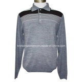 Hommes Knitted Turtle Neck Long Sleeve Fashion Jacket avec Zipper (M15-029)