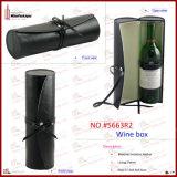 Caja de cuero de encargo negra cuadrada del vino (5502)