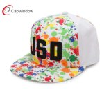 Tampão liso do Snapback da borda da impressão do Sublimation com bordado 3D