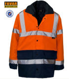 300d Inverno Laranja Oxford Revestimento à prova d'água impermeável de segurança En471 Casaco de chuva de bicicleta