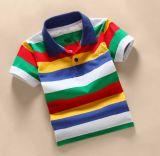 Camisa de T personalizada do polo das crianças do algodão da forma da tira do logotipo