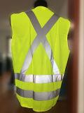 Gilet élevé de travail de Mens de sûreté de la visibilité 100%Polyester avec la bande r3fléchissante