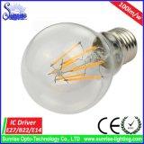 Luz de bulbo caliente del filamento de la lámpara del blanco A60 E27 6W LED