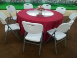 La Cina Wholesale 5ft 60inch Round Plastic Folding Dining Table per Events, Wedding, Banquet, Party, Barbecue, Camping, Picnic, Catering