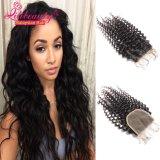Fechamentos Curly profundos humanos do laço do cabelo 4X4 do Virgin malaio