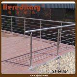 304/316 barandilla del acero inoxidable en el pasamano del cable para la cubierta (SJ-S335)
