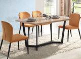 Tabela de jantar superior de madeira quadrada moderna bonita simples com pé de aço (NK-DT046)