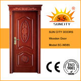 Portas de madeira sólidas Enterance, Portas de pintura de madeira (SC-W085)