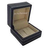 Caja de joyería de madera de cuero negro para el anillo, colgante, collar, pulsera