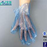 Guanti di plastica del PE a gettare blu per utilizzazione alimentare