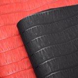 格子デザイン織り目加工PU袋の革、赤いカラー靴革