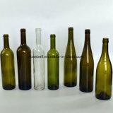 200/375/750ml obscuridade - frasco de vinho do vidro verde com parte superior da cortiça (NA-015)