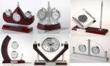 عمل تذكار وإعطاء خشبيّة مكتب ساعة مع قلم [ك8033] هيكليّة ساعة عدة هبة مجموعة