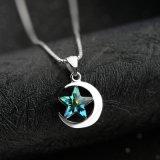 Collana Pendant della nuova di modo dell'argento sterlina 925 dei monili luna di cristallo genuina della stella per le donne