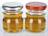 ふたの食糧びんが付いている200ml円形のかわいい蜂蜜のガラス瓶