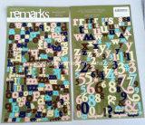 Etiquetas engomadas de papel de tarjetas de la carta/etiquetas engomadas cortadas con tintas hechas a mano del arte de papel del alfabeto