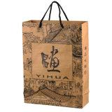 Bolsos impresos reutilizables del regalo del papel de la maneta de la cuerda para las compras (FLN-8904)
