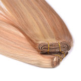 Trame indienne blonde de machine de cheveux humains de la couleur P18/613# Remi de point culminant