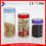Tarro de cristal al por mayor del alimento con la tapa decorativa del color
