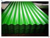 El cinc galvanizado cubrió la hoja de acero acanalada coloreada curvada hoja del material para techos