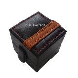 Caja de embalaje de la joyería de cuero de madera de lujo del regalo con insignia modificada para requisitos particulares