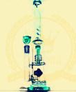 Corona T13 Reciclador de tabaco de vidrio Tall Color Bowl Cenicero de artesanía de vidrio Tubos de vidrio Heady Recycler Beaker 1bubble Glass Water Pipe