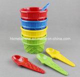 Tazza del gelato della melammina con il cucchiaio (CP087)