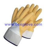 Желтая перчатка латекса, тумак безопасности