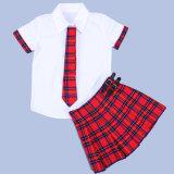 Chemises élevées d'uniforme scolaire de coton de plaine blanche blanc d'été avec des jupes