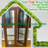 Janela de madeira de alumínio de boa qualidade, excelente janela de madeira de cassete com alça de manivela dobrável