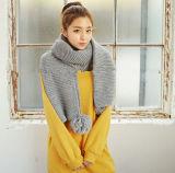 Тенденция Knitting Корея New Winter Warm Tassels Scarf Thicken Wool Knitting Scarves для Lady