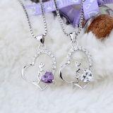 Collana Pendant di cristallo viola Heart-Shaped dell'argento sterlina di personalità delle donne