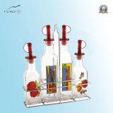 Frasco do vinagre, frasco de petróleo e jogo da cremalheira dos frascos da especiaria