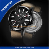 Relógio automático dos homens especiais do projeto dos deslocamentos predeterminados com a cinta de couro genuína