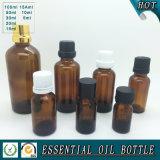 Bouteille en verre à l'huile essentielle marron