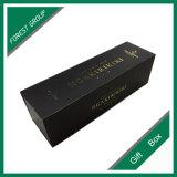 Caixa de presente dourada dos frascos de vinho da impressão do logotipo do bloco liso